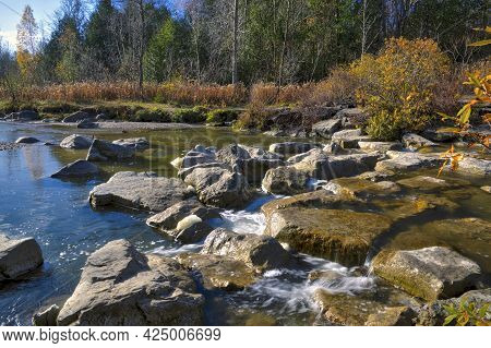 Beautiful View Of The Riverbank In The National Park