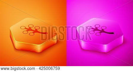 Isometric Blossom Tree Branch With Flowers Icon Isolated On Orange And Pink Background. Hexagon Butt