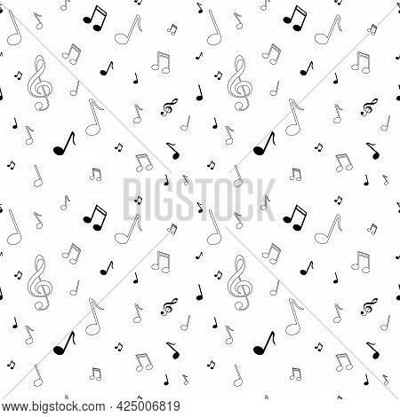 Music Vector Art Abstract Illustration With Notes, Black Seamless Pattern For Textile Design. Cartoo