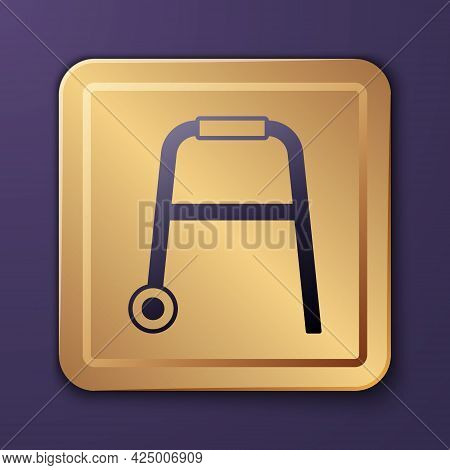 Purple Walker For Disabled Person Icon Isolated On Purple Background. Gold Square Button. Vector