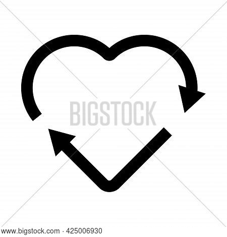 Black Heart Shape Recycle Icon. Reuse, Renew, Recycling Materials, Concept. Eco Friendly Concept.
