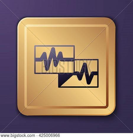 Purple Computer Monitor With Cardiogram Icon Isolated On Purple Background. Monitoring Icon. Ecg Mon