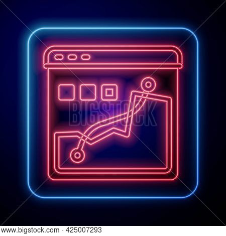 Glowing Neon Histogram Graph Photography Icon Isolated On Black Background. Vector