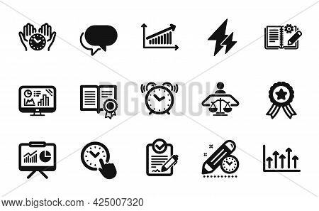 Vector Set Of Growth Chart, Presentation And Talk Bubble Icons Simple Set. Rfp, Analytics Graph And