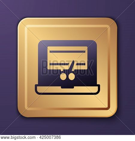 Purple Video Recorder Or Editor Software On Laptop Icon Isolated On Purple Background. Video Editing