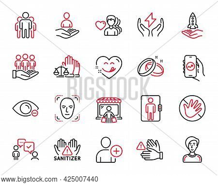 Vector Set Of People Icons Related To Elevator, Crowdfunding And Market Buyer Icons. Clean Hands, Co