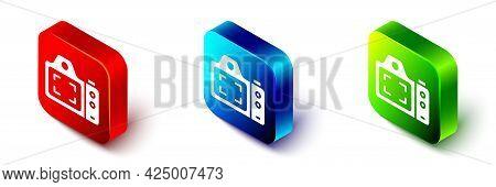 Isometric Photo Camera Icon Isolated On White Background. Foto Camera. Digital Photography. Red, Blu