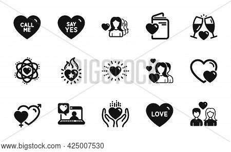 Vector Set Of Woman Love, Wedding Glasses And Hold Heart Icons Simple Set. Hearts, Couple Love And H
