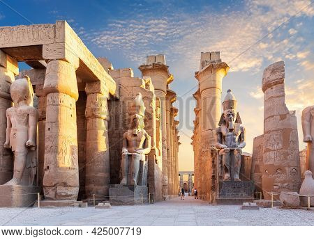 Luxor Temple Courtyard And The Statues Of Ramses Ii, Egypt.
