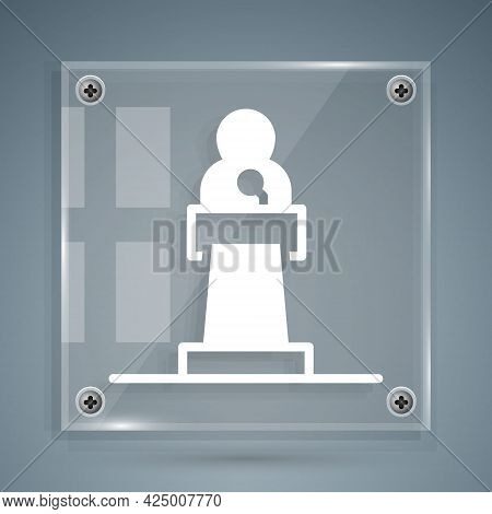 White Speaker Icon Isolated On Grey Background. Orator Speaking From Tribune. Public Speech. Person
