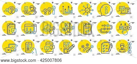 Survey, Report Review Line Icons. Opinion, Customer Satisfaction Feedback And Test Icons. Checklist