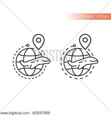 Globe, Location Pin And Airplane Line Vector Icon. Dashed Line Flight Route Outline, Editable Stroke