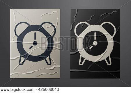 White Alarm Clock Icon Isolated On Crumpled Paper Background. Wake Up, Get Up Concept. Time Sign. Pa