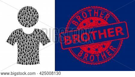 Brother Rubber Round Stamp Seal And Vector Recursive Collage Boy. Red Stamp Seal Has Brother Text In