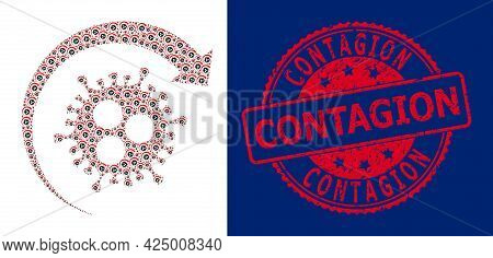 Contagion Rubber Round Seal And Vector Recursive Collage Virus Return. Red Seal Has Contagion Title