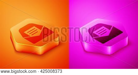 Isometric Mail And E-mail Icon Isolated On Orange And Pink Background. Envelope Symbol E-mail. Email