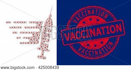 Vaccination Scratched Round Stamp Seal And Vector Recursion Collage Fast Vaccination. Red Stamp Seal