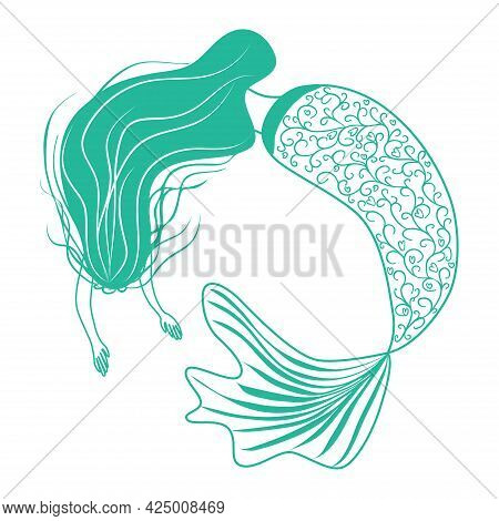 Beautiful Mermaid In Zentangle Style, Patterned Mermaid Tail, Anti Stress Coloring Book For Adults.