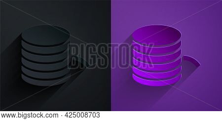 Paper Cut Plastic Filament For 3d Printing Icon Isolated On Black On Purple Background. Paper Art St