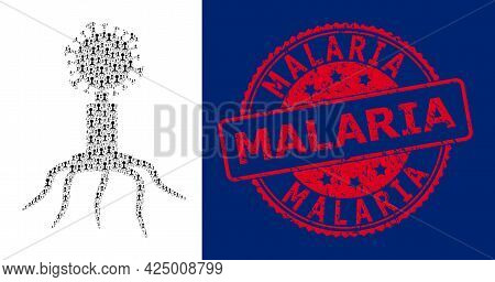 Malaria Dirty Round Stamp Seal And Vector Recursive Collage Viral Agent. Red Seal Contains Malaria T