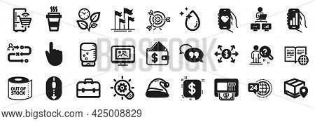 Set Of Business Icons, Such As Dating App, Cogwheel, Internet Book Icons. Dollar Exchange, Journey P