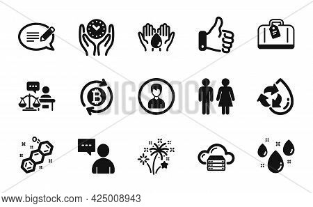 Vector Set Of Hand Baggage, Refresh Bitcoin And Person Icons Simple Set. Message, Users Chat And Saf