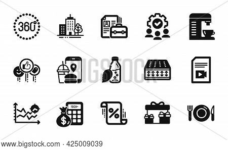 Vector Set Of Video File, Surprise Boxes And Flexible Mattress Icons Simple Set. Food App, Coffee Ma