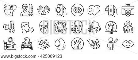 Set Of Medical Icons, Such As Medical Insurance, Family Insurance, Covid Test Icons. Sick Man, Eye,