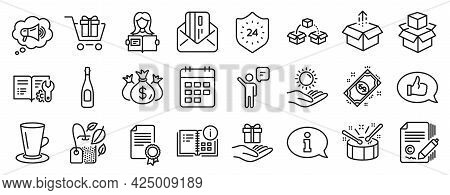Set Of Line Icons, Such As Copywriting, Check Investment, Credit Card Icons. Parcel Shipping, Champa