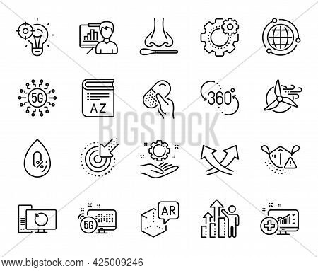 Vector Set Of Employee Results, Seo Idea And Augmented Reality Line Icons Set. Cogwheel, Vocabulary