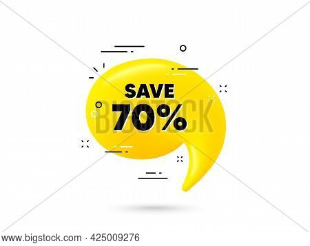 Save 70 Percent Off. Yellow 3d Chat Bubble. Sale Discount Offer Price Sign. Special Offer Symbol. Di