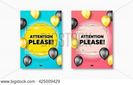 Attention Please Text. Flyer Posters With Realistic Balloons Cover. Special Offer Sign. Important In