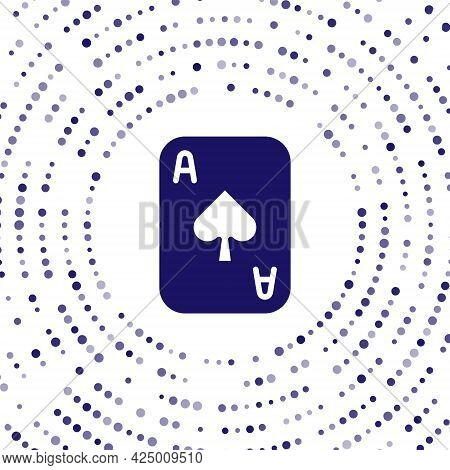 Blue Playing Cards Icon Isolated On White Background. Casino Gambling. Abstract Circle Random Dots.