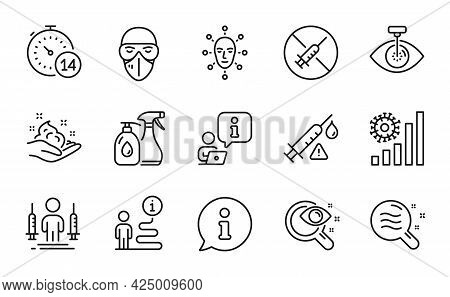 Medical Icons Set. Included Icon As Vision Test, Cleaning Liquids, Skin Condition Signs. Quarantine,