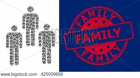 Family Rubber Round Stamp Seal And Vector Recursion Mosaic People. Red Stamp Seal Includes Family Te
