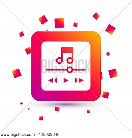 White Music Player Icon Isolated On White Background. Portable Music Device. Square Color Button. Ve