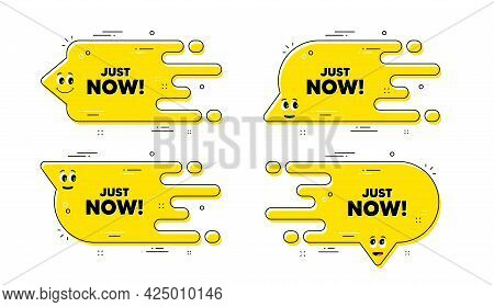 Just Now Text. Cartoon Face Transition Chat Bubble. Special Offer Sign. Sale Promotion Symbol. Just