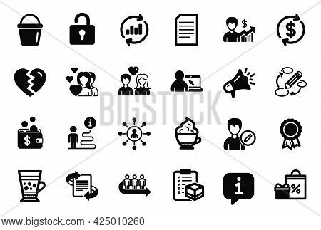 Vector Set Of Simple Icons Related To Break Up, Frappe And Update Data Icons. Cappuccino Cream, Coup