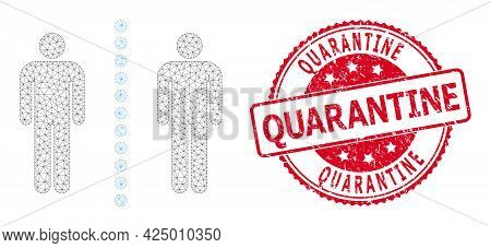 Quarantine Scratched Stamp And Vector Social Distance Mesh Model. Red Seal Includes Quarantine Tag I