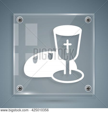 White Goblet And Bread Icon Isolated On Grey Background. Bread And Wine Cup. Holy Communion Sign. Sq