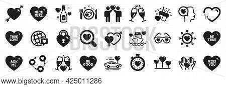 Set Of Love Icons, Such As Love Champagne, Heart, Romantic Talk Icons. Miss You, Be True, Love Glass
