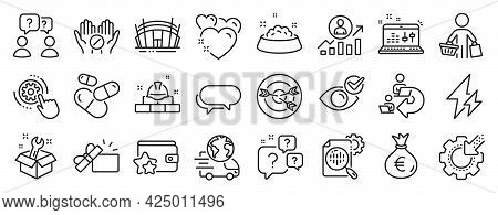 Set Of Business Icons, Such As Check Eye, Targeting, Question Bubbles Icons. Capsule Pill, Messenger
