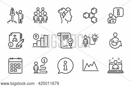 Education Icons Set. Included Icon As Approved Agreement, Graph Chart, Algorithm Signs. Best Manager