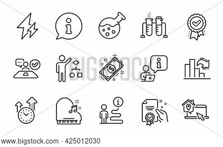 Education Icons Set. Included Icon As Work Home, Chemistry Lab, Chemistry Beaker Signs. Approved Awa