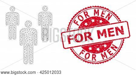 For Men Corroded Watermark And Vector Men Mesh Structure. Red Seal Contains For Men Title Inside. Ab