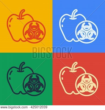 Pop Art Line Genetically Modified Apple Icon Isolated On Color Background. Gmo Fruit. Vector