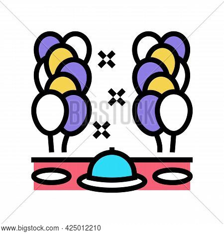 Dinner Party Balloon Decoration Color Icon Vector. Dinner Party Balloon Decoration Sign. Isolated Sy