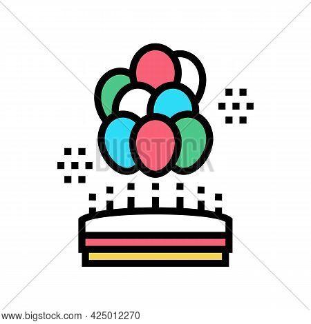 Birthday Balloons Decoration Color Icon Vector. Birthday Balloons Decoration Sign. Isolated Symbol I