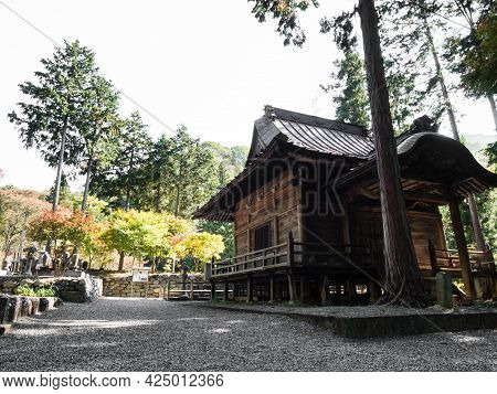 Koshu, Japan - October 26, 2017: On The Grounds Of Keitokuin, A Buddhist Temple Dedicated To Takeda