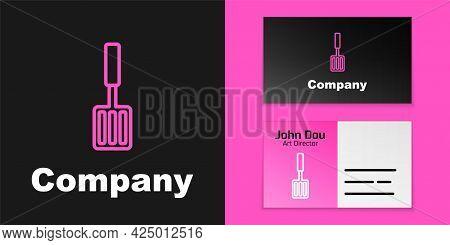 Pink Line Barbecue Spatula Icon Isolated On Black Background. Kitchen Spatula Icon. Bbq Spatula Sign
